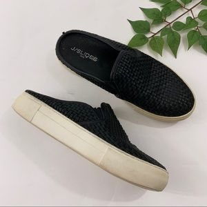 J/Slides Black Woven Slip On Sneakers 8.5